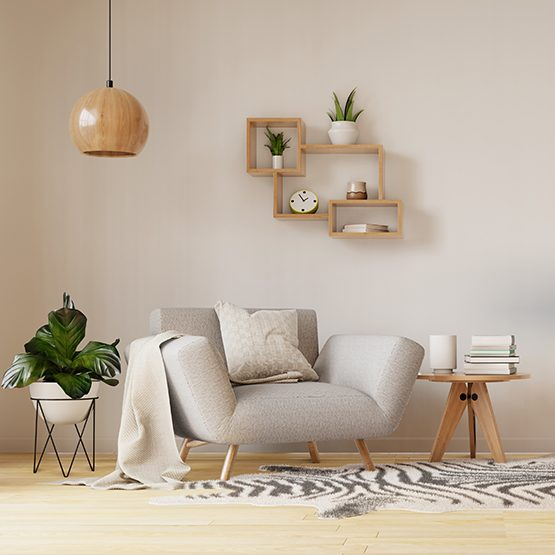 Interior poster mock up living room with colorful white armchair. 3D rendering.